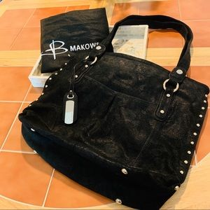 B.Makowsky Black Suede Tote Bag with Gold Accents